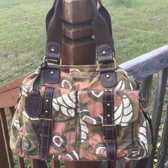 Fossil Handbags - Fossil vintage canvas crossbody bag purse